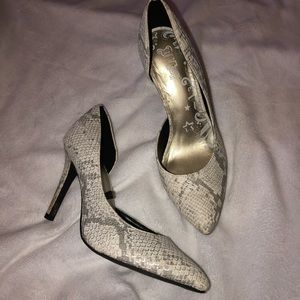 Pointed Reptile Print Heels size 5 worn ONCE!